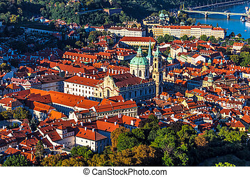 Prague, the Czech Republic - Aerial view of Mala Strana in...