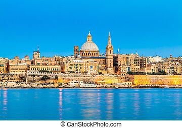 Valletta, Malta - Valletta Skyline in the Evening, Malta