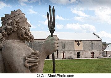 Statue of Neptune in Bermuda Maritime Museum, Royal Naval...