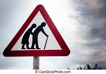 Roadsign - Road sign for elderly crossing on the island of...