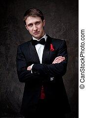Young man wearing tuxedo