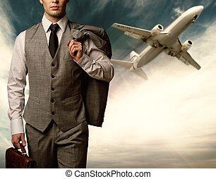 homem negócios, viajando, conceito