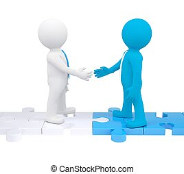 Two 3d people shaking hands Isolated render on a white...
