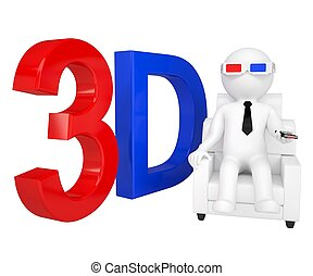 3d man in stereo glasses on a chair Isolated render on a...