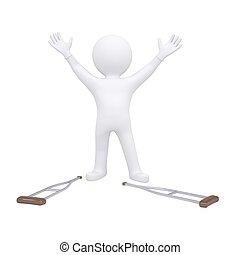3d man threw his crutches. Isolated render on a white...