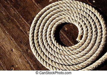 Rope on boats deck