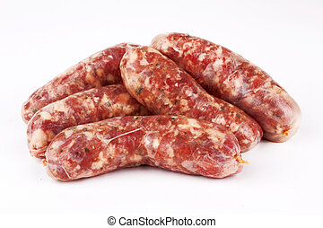 sausages - pile of pork meat sausages in a box isolated on a...