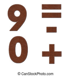 Number with stitch design on leather elements