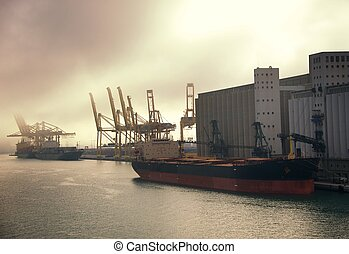 Cargo ship at port.