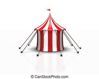 Circus Tent - a cute red and white circus tent against a...