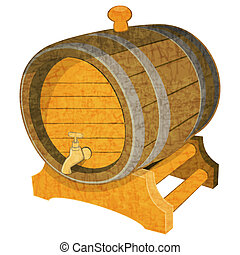 Wine Cask - Wine Wooden Vintage Cask on White Background...
