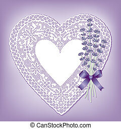 Lace Heart Doily, Sweet Lavender - Vintage lace heart doily...