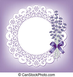 Vintage Lace with Sweet Lavender - Vintage lace doily with...