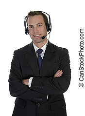 standing businessman with microphone