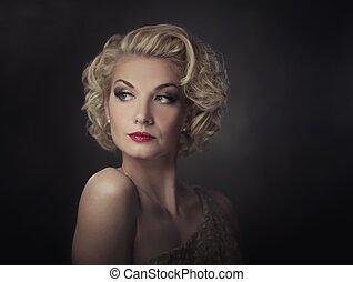 Retrato, mulher,  retro