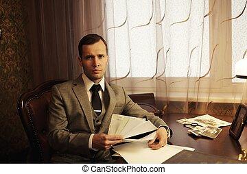 homem negócios, lar, Interior, documentos, seu,...
