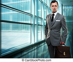 Businessman inside modern building
