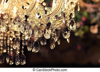 Chrystal chandelier close-up. Glamour background with copy...