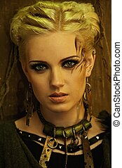 blonds, girl, ethnique, collier, portrait
