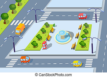 Isometric projection of the vector of the city with  cars