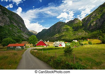 Village in a norway mountains