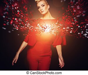 Conceptual picture of a fashionable woman in red
