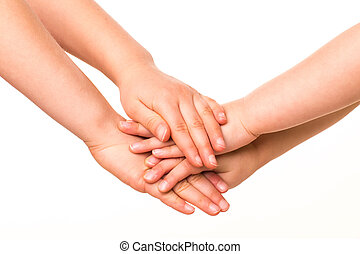 Two kids holding hands together. - Two kids holding hands...