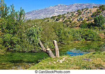 Zrmanja river and Velebit Mountain - Pure green water of...