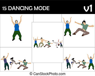 rocking male dancers on isolated background