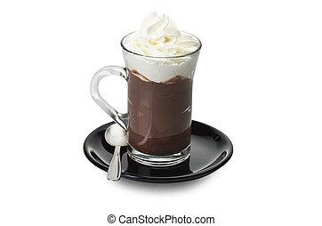 caliente, chocolate, cierre, Arriba, blanco