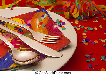 Carnival Dining with Confetti, Steamers and Mask