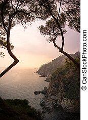 Sunrise over rocky sea shore