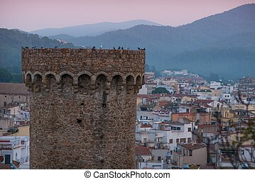 Pigeons on fortress tower in Tossa de Mar, Spain
