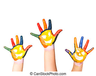 Family concept Three colorful hands with smiling face of...