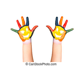 The two colorful hands with smile painted with different...