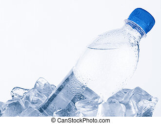 Water bottle in ice on white background