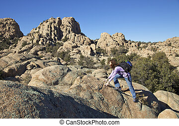 Hiking the Granite Dells - hiking in the rugged granite...