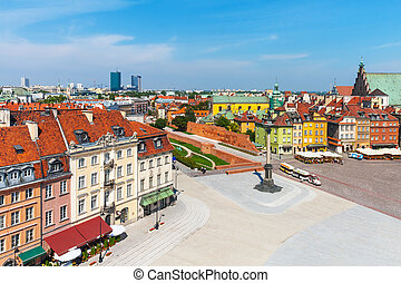 Aerial panorama of Warsaw, Poland - Scenic summer aerial...