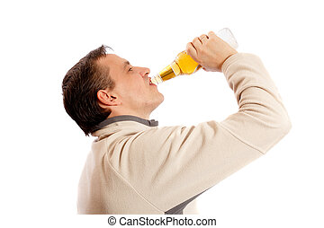 Man drinking beer from a glass bottle on a white background