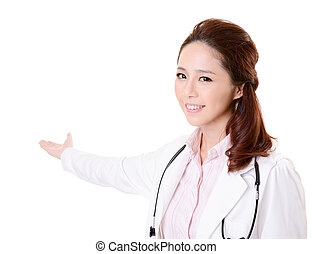 introduce - Friendly Asian doctor woman introduce something,...