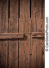 Close-up of old painted wooden fence