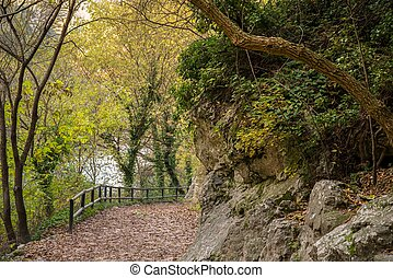 Walkway near river in Fontaine-de-Vaucluse, France