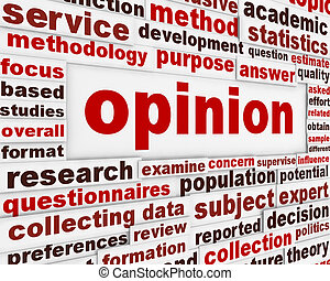 Opinion creative word clouds design Public opinion message...