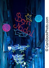 Christmas lights on Barcelona streets