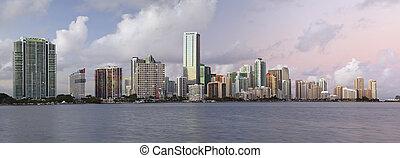 Miami Skyline Panorama - Panoramic image of Miami downtown...
