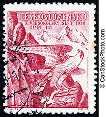 CZECHOSLOVAKIA - CIRCA 1938: a stamp printed in the...