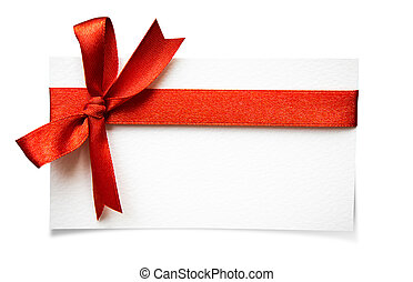 Card with red ribbons bows isolated on white background with...