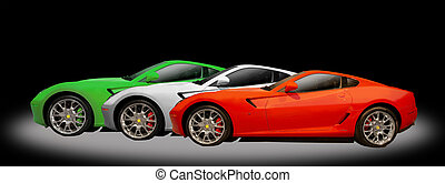3 sports cars - red, white, green sports car on a black...