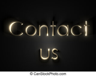 shining contact us text on isolated plane