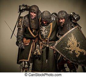 medieval, dos, su, proceso de llevar, caballeros, amigo